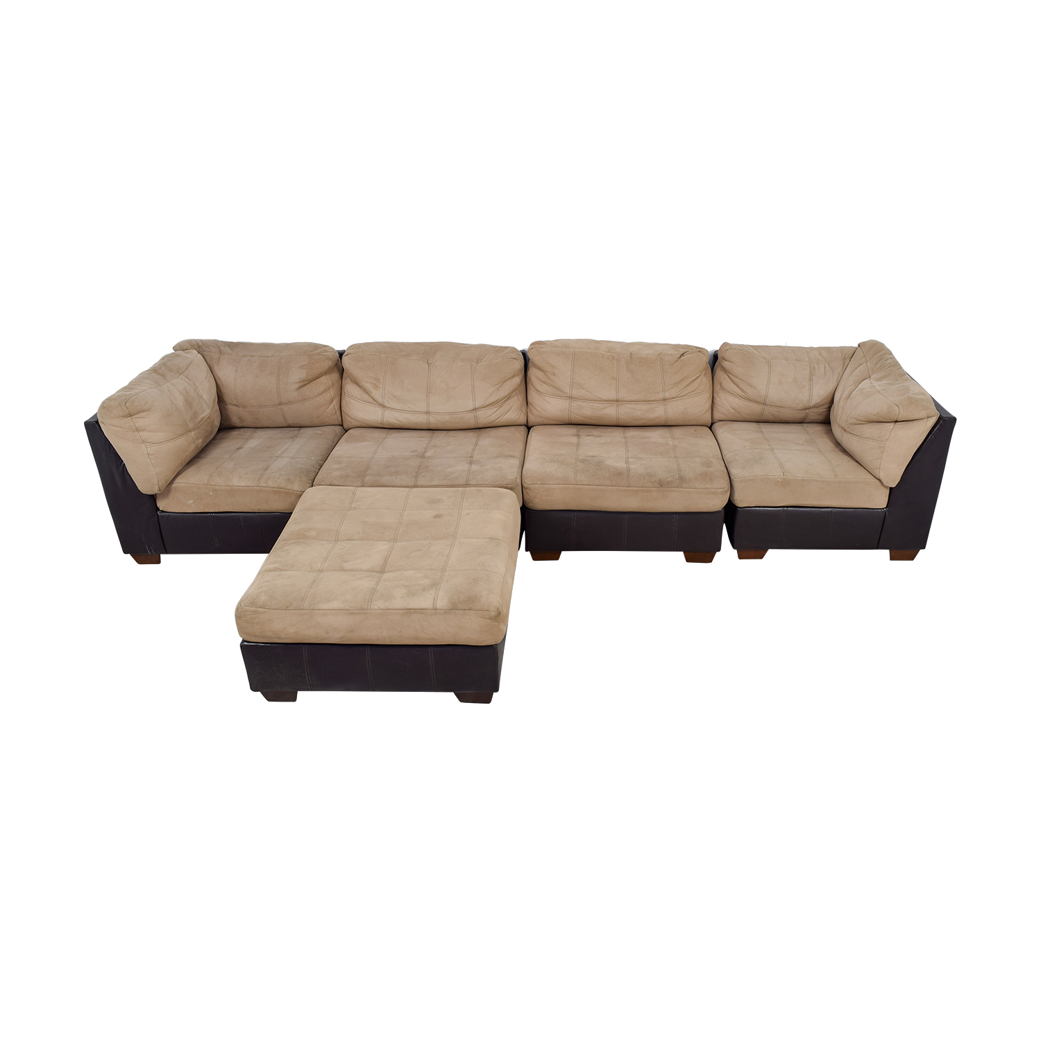 Ashley Furniture Brown Leather and Beige Sectional / Sofas