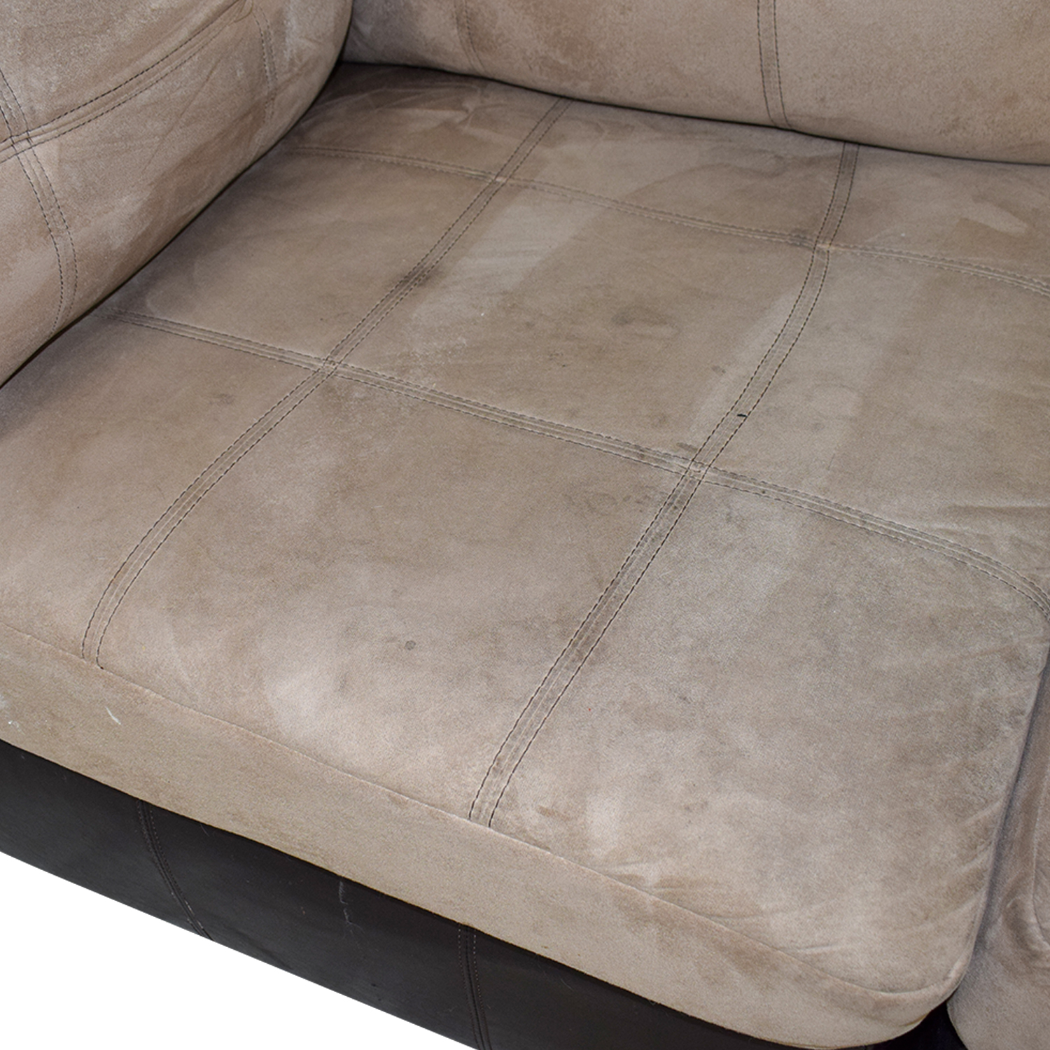 shop Ashley Furniture Brown Leather and Beige Sectional Ashley Furniture Sectionals