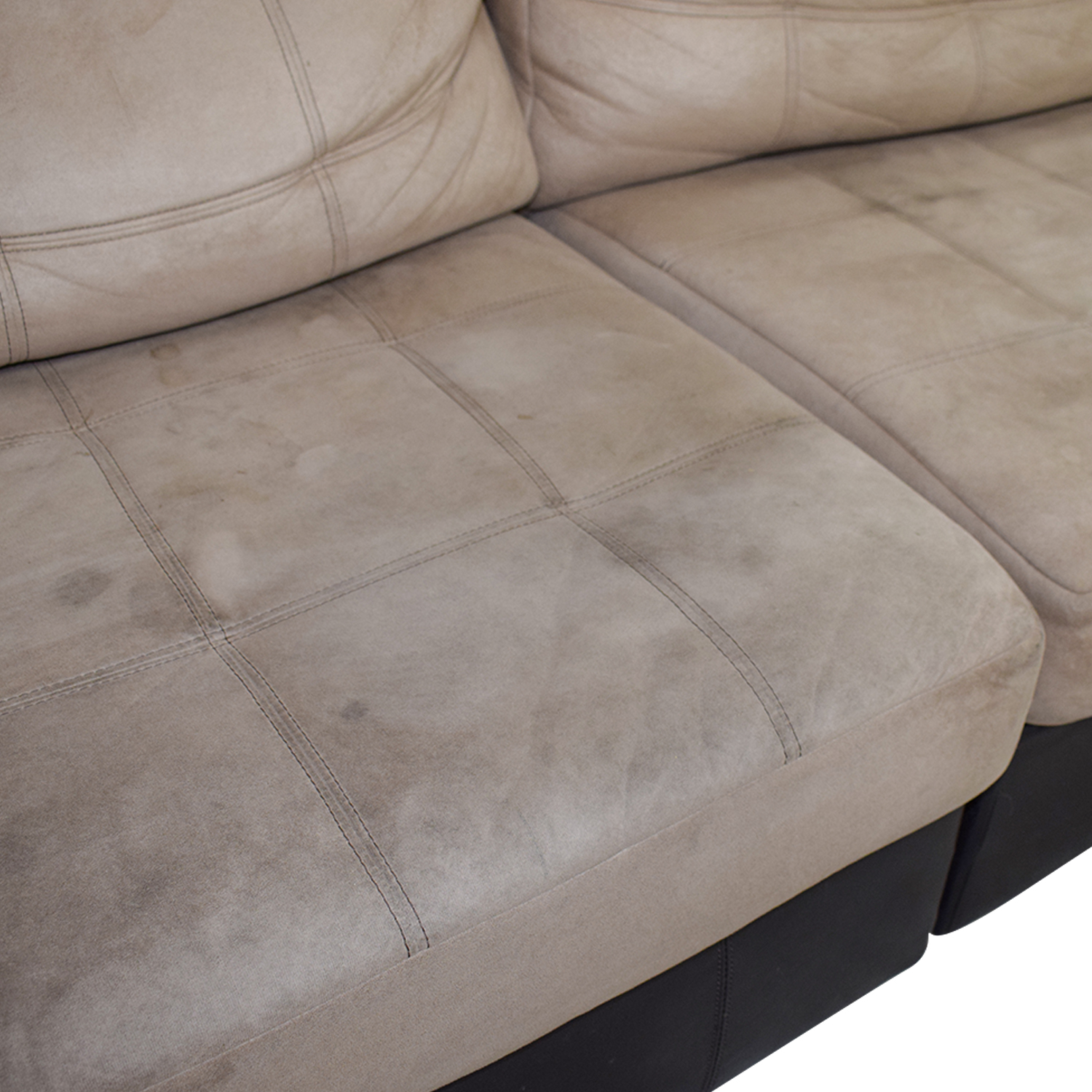 Ashley Furniture Brown Leather and Beige Sectional / Sectionals
