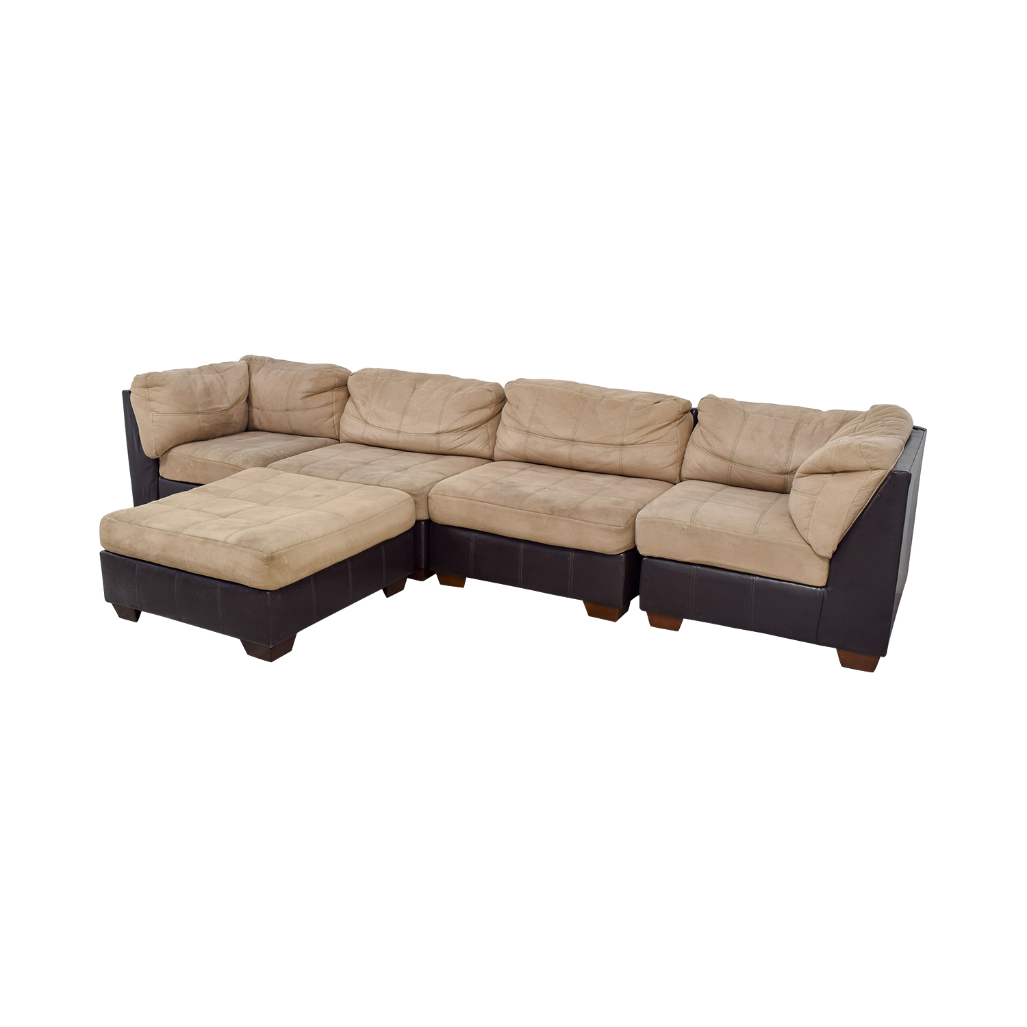 buy Ashley Furniture Ashley Furniture Brown Leather and Beige Sectional online
