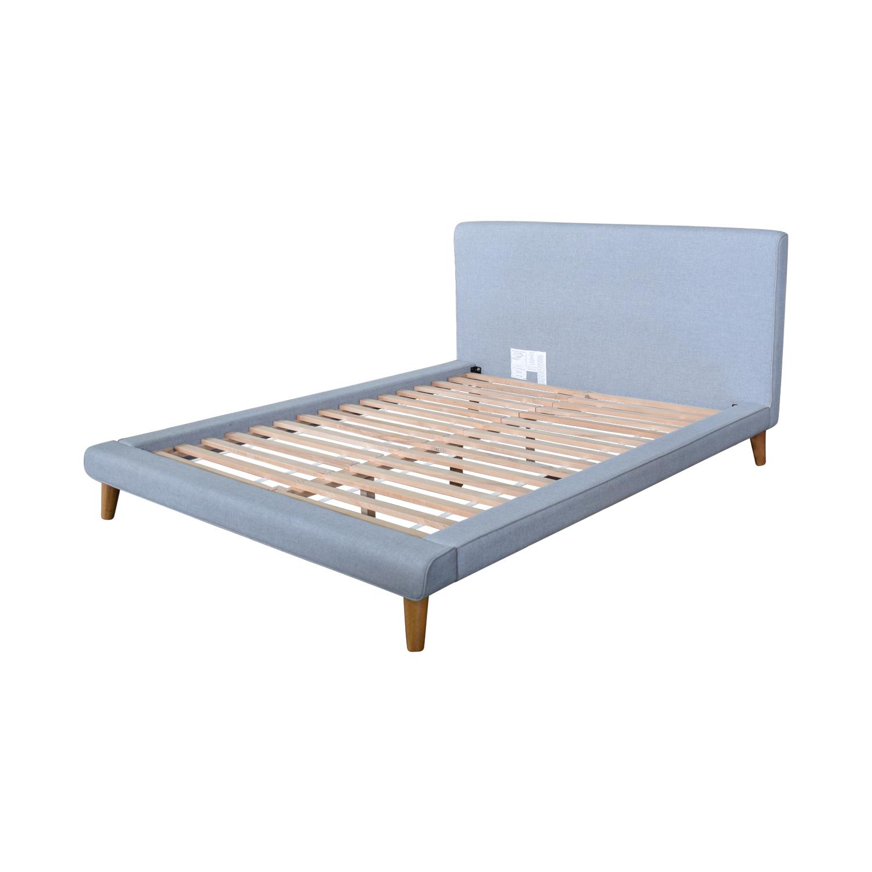 shop West Elm Grey Upholstered Queen Bed Frame West Elm