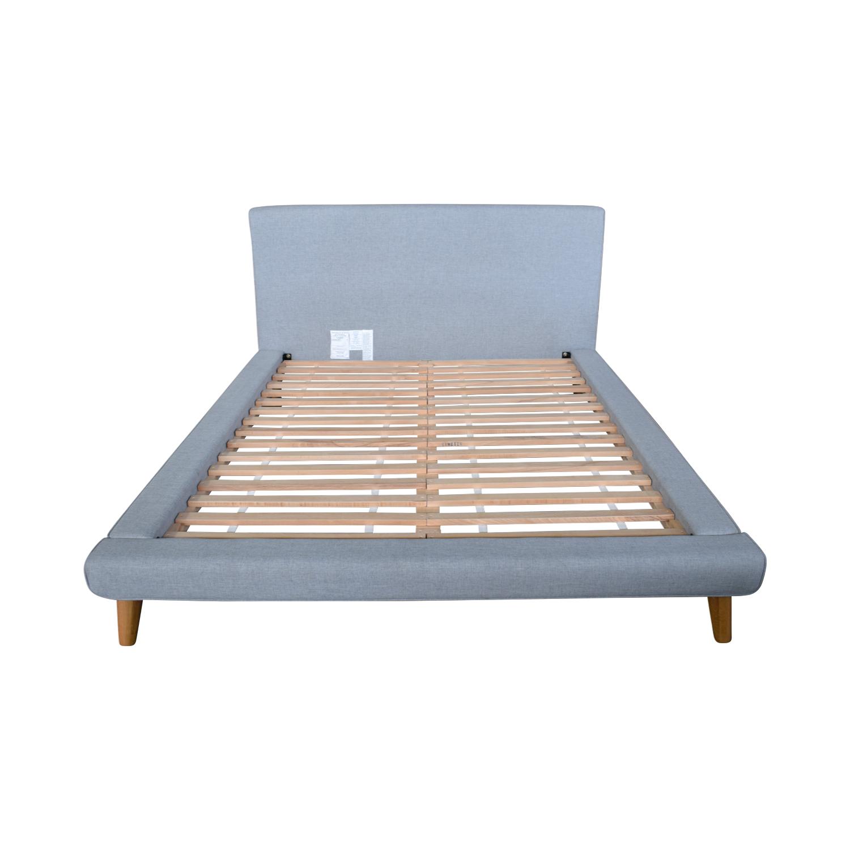 West Elm West Elm Grey Upholstered Queen Bed Frame second hand