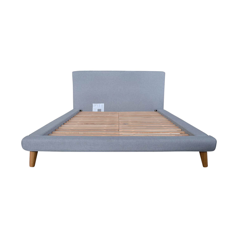 West Elm Grey Upholstered Queen Bed Frame West Elm