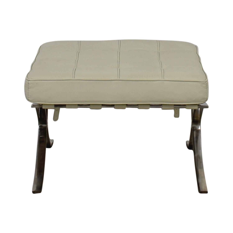 Jensen Lewis Barcelona White Leather Ottoman / Chairs ...