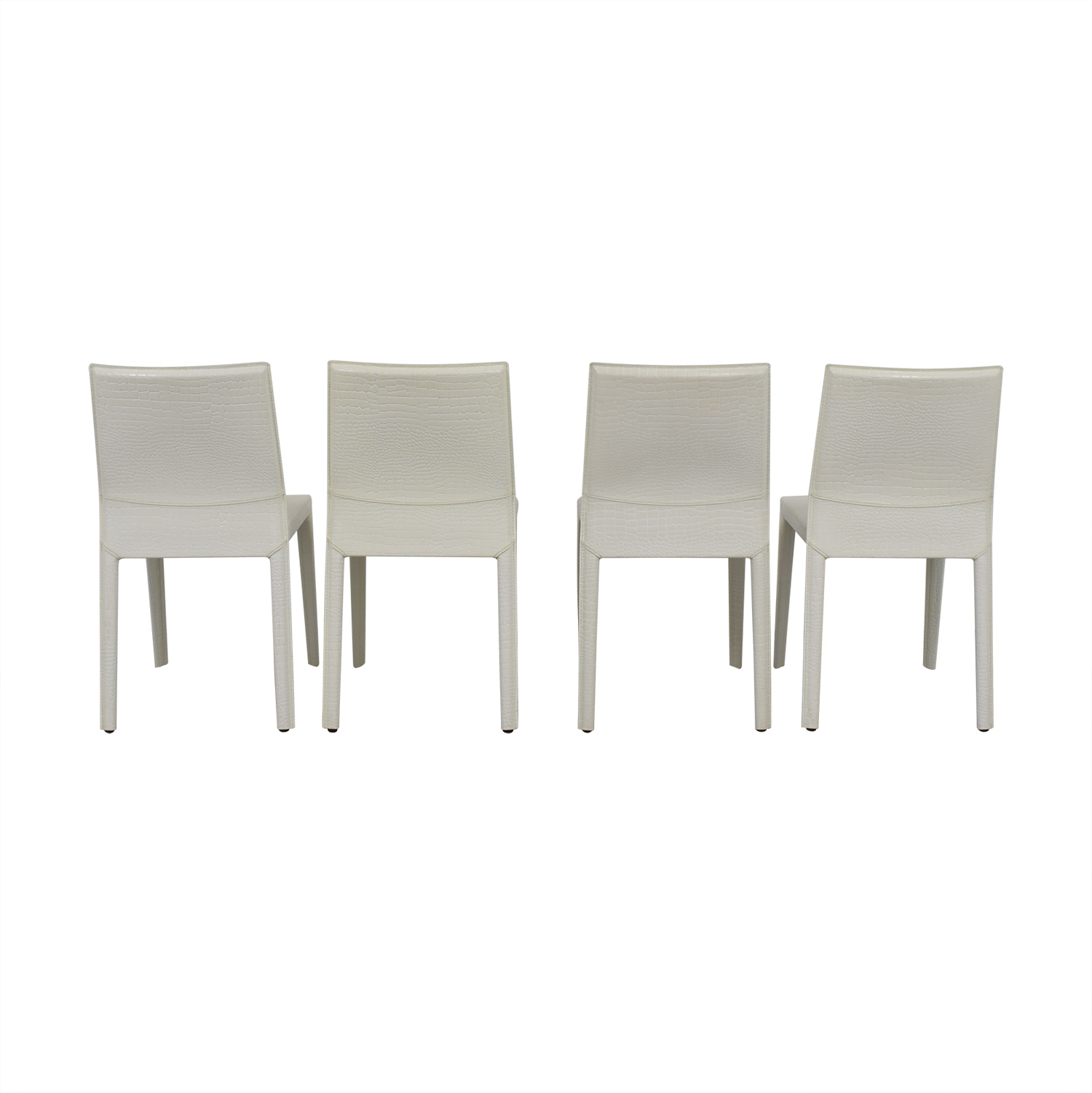 Nicoletti White Leather Embossed Croc Leather Dining Chairs Nicoletti