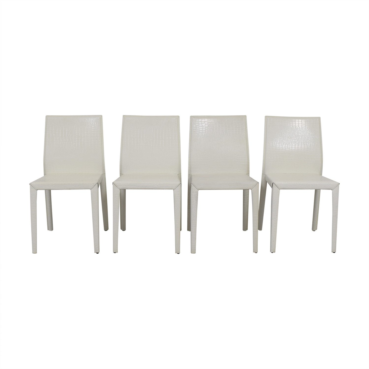 Nicoletti Nicoletti White Leather Embossed Croc Leather Dining Chairs White