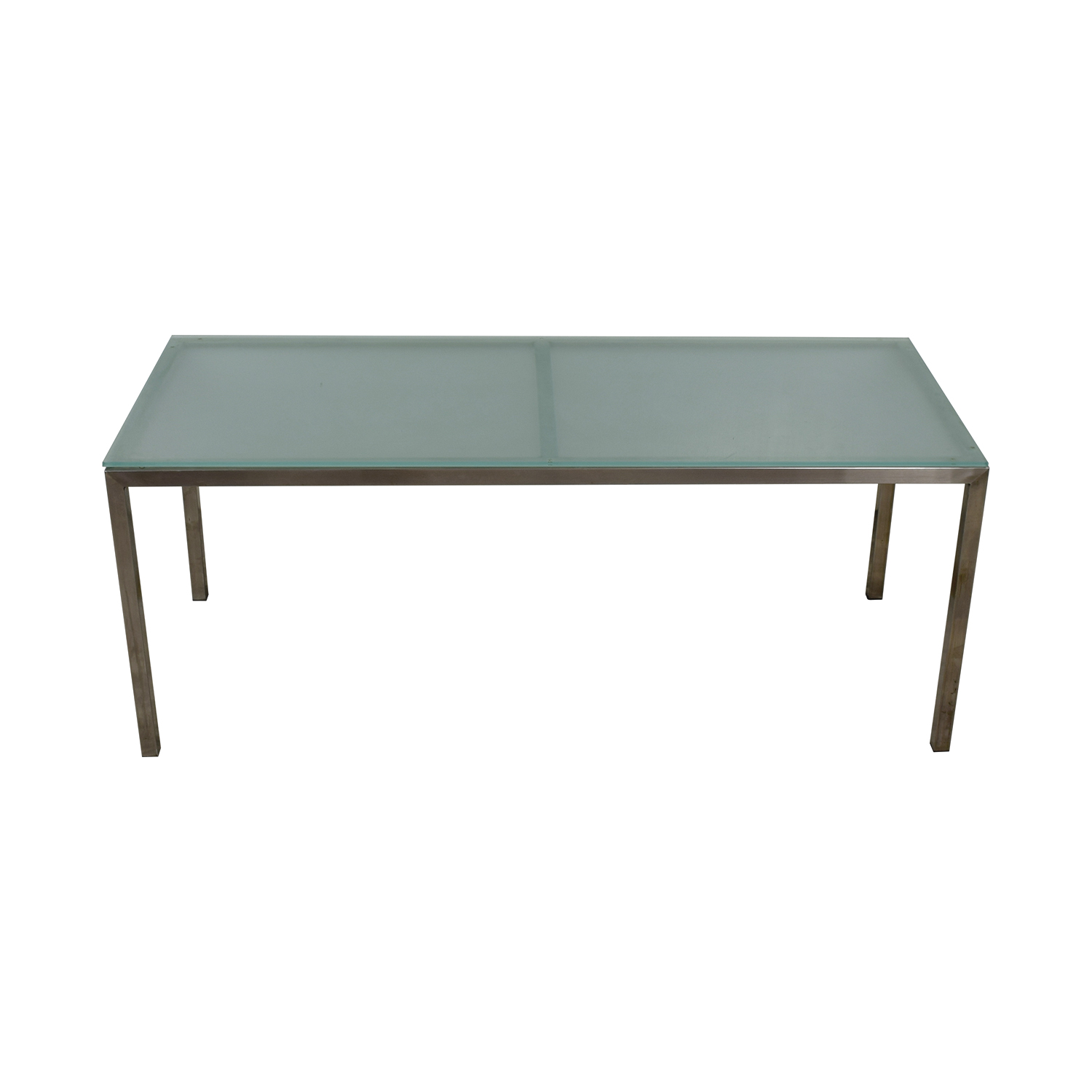 buy Room & Board Portica Custom Brushed Steel and Frosted Glass Table Room & Board