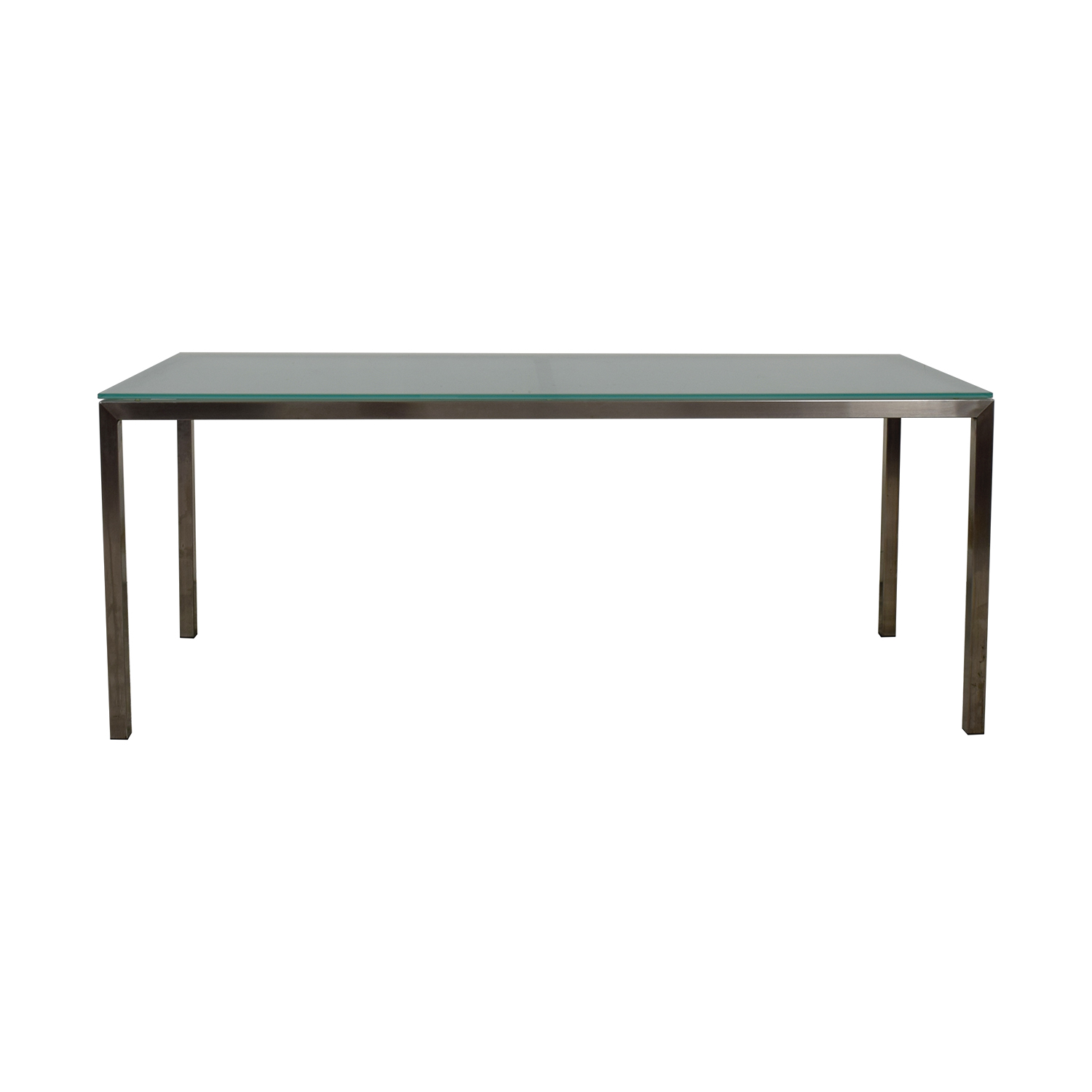 Room & Board Room & Board Portica Custom Brushed Steel and Frosted Glass Table for sale