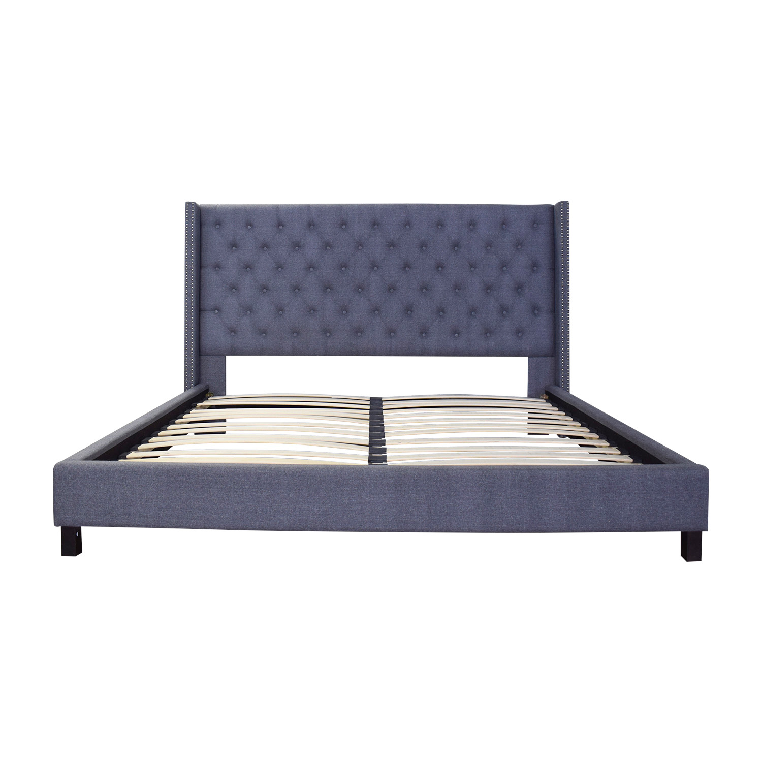 shop Wayfair Grey Tufted Nailhead King Bed Wayfair Beds