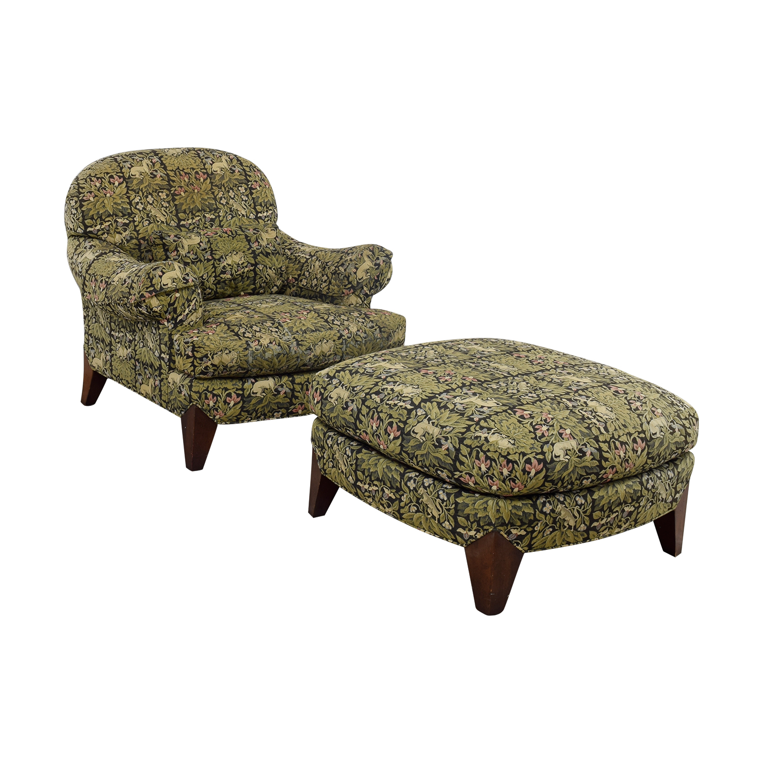 buy Henredon Upholstered Floral Chair and Ottoman Henredon Accent Chairs
