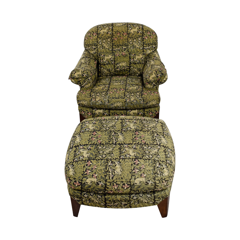 Henredon Henredon Upholstered Floral Chair and Ottoman discount