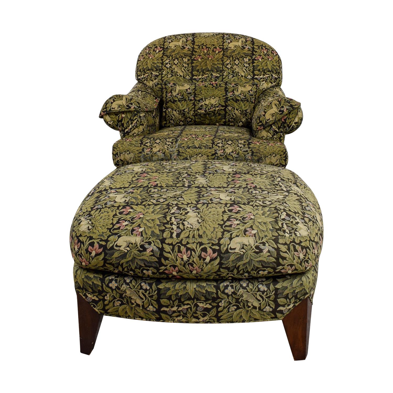 Henredon Henredon Upholstered Floral Chair and Ottoman nj
