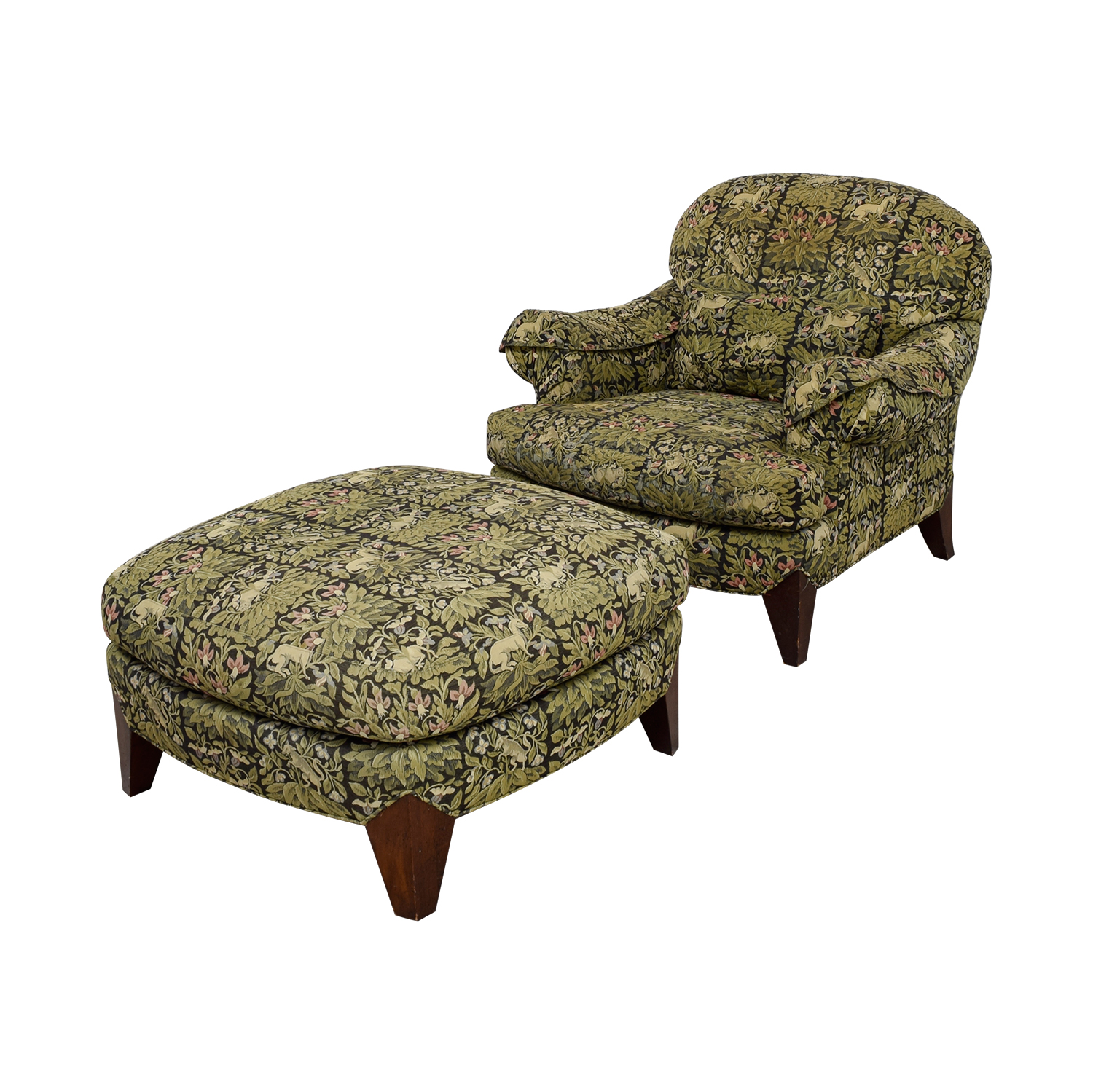 Henredon Upholstered Floral Chair and Ottoman Henredon