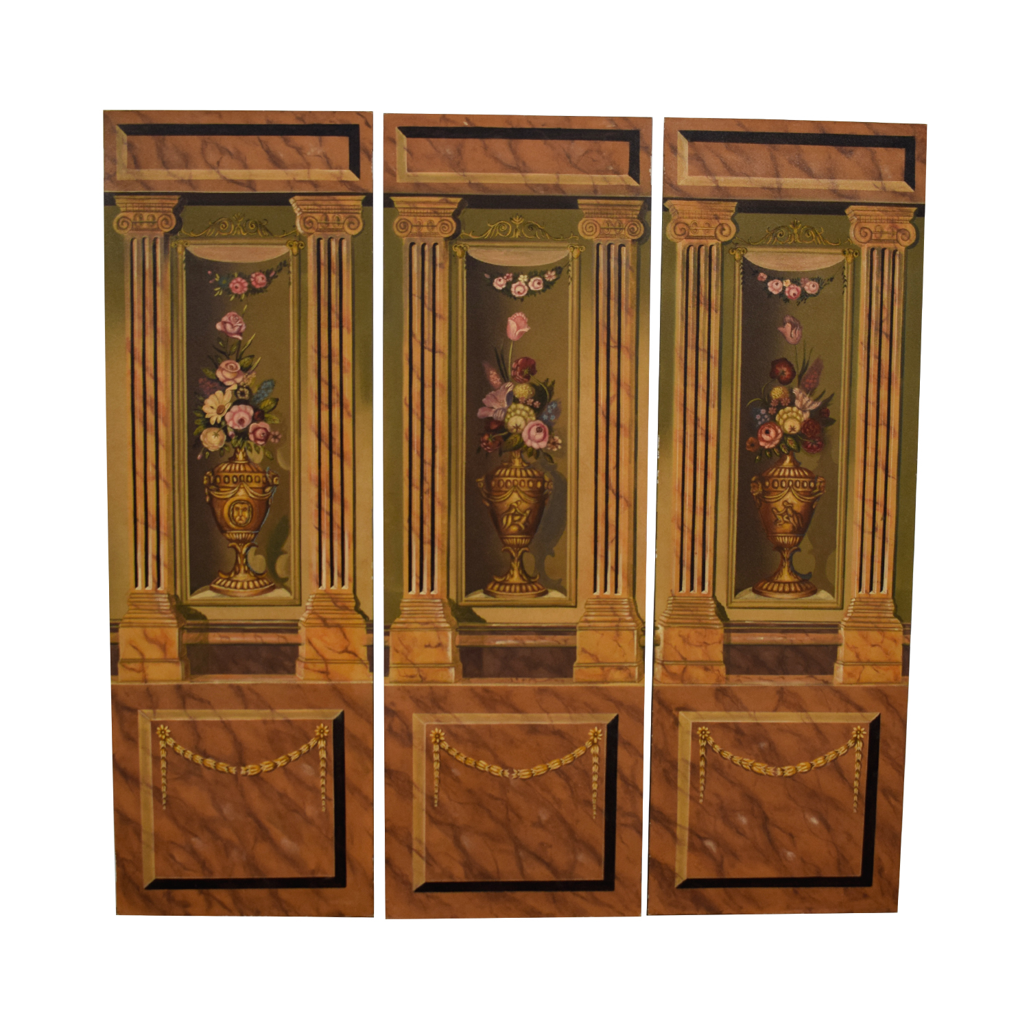 Maitland-Smith Hand Painted Three-Panel Screen / Dividers
