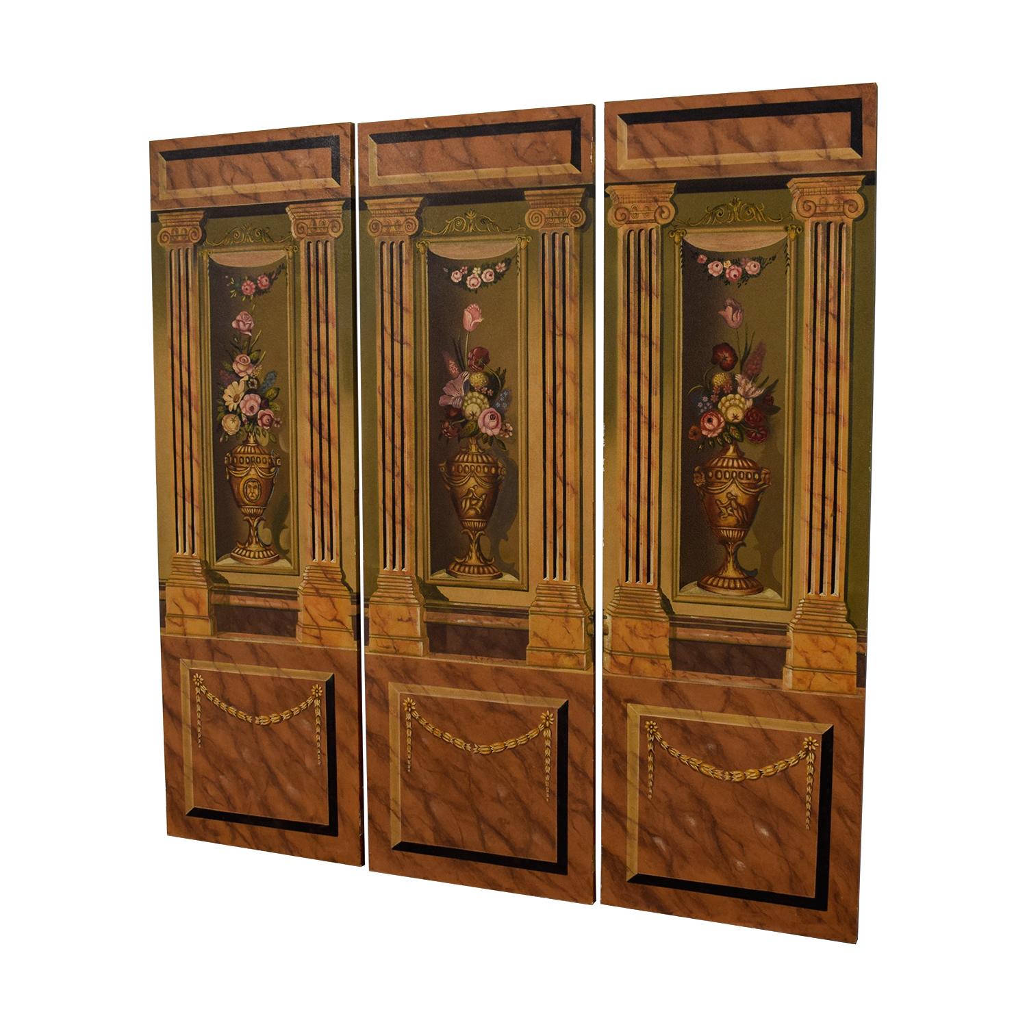 shop Maitland-Smith Hand Painted Three-Panel Screen Maitland-Smith Decor