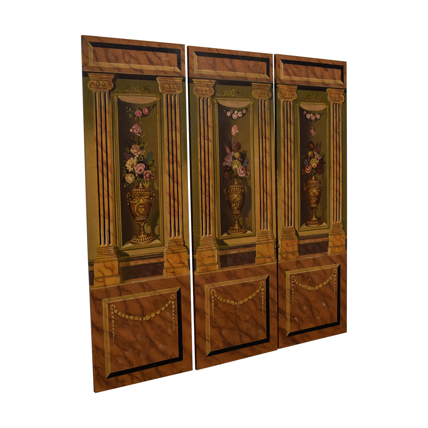 buy Maitland-Smith Hand Painted Three-Panel Screen Maitland-Smith Dividers