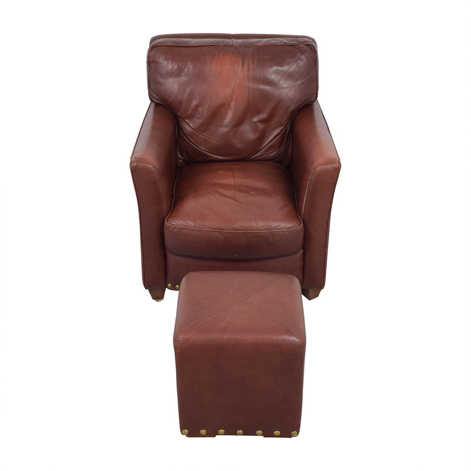 Brown Leather Chair and Ottoman dimensions