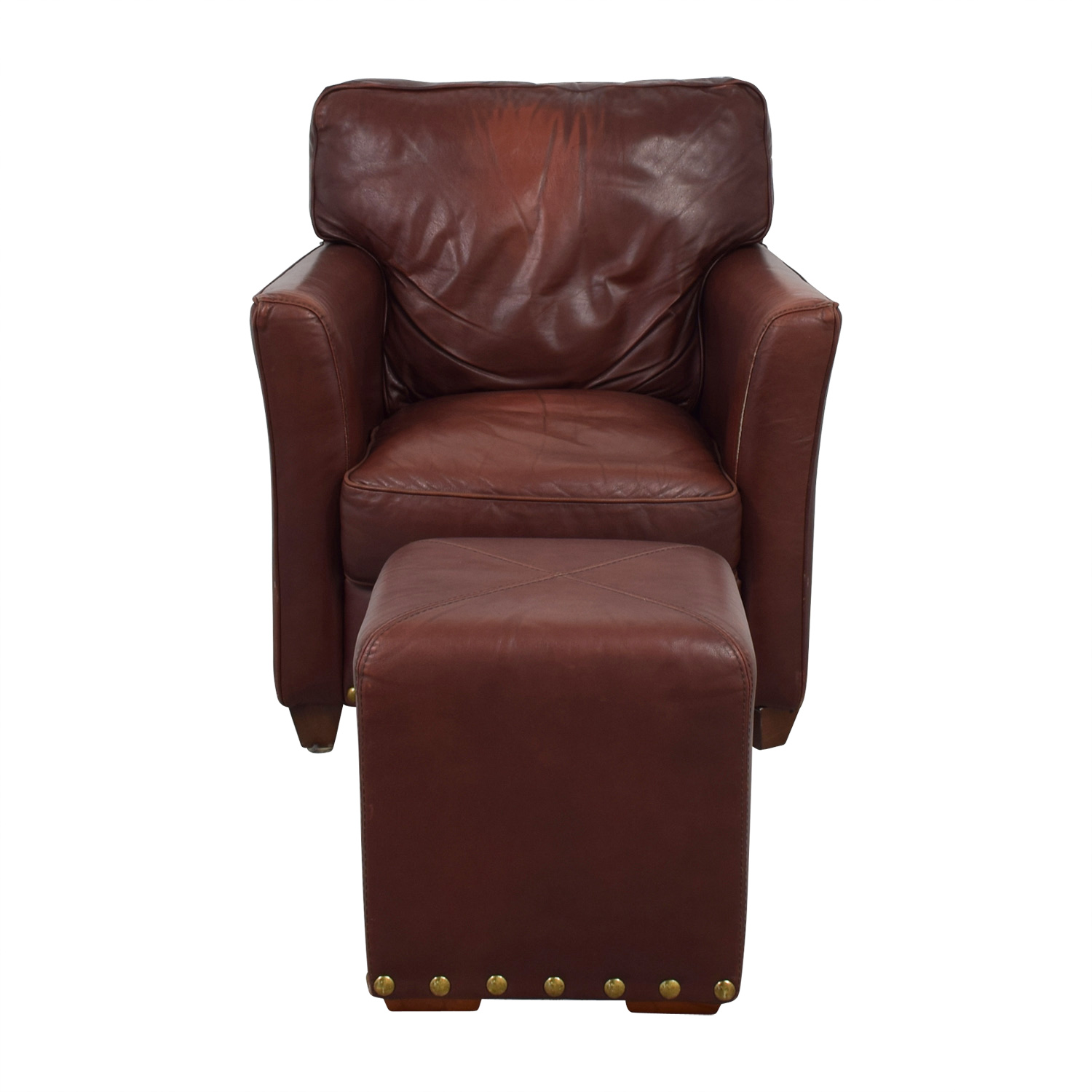 Superb 78 Off Brown Leather Chair And Ottoman Chairs Ncnpc Chair Design For Home Ncnpcorg
