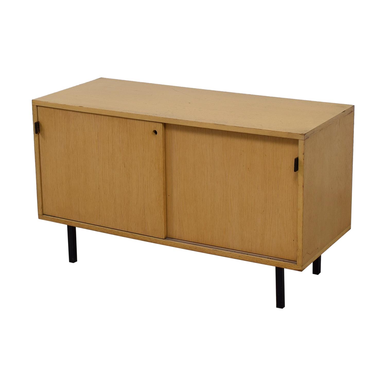 85% OFF - Natural Wood Sliding Door Console / Storage