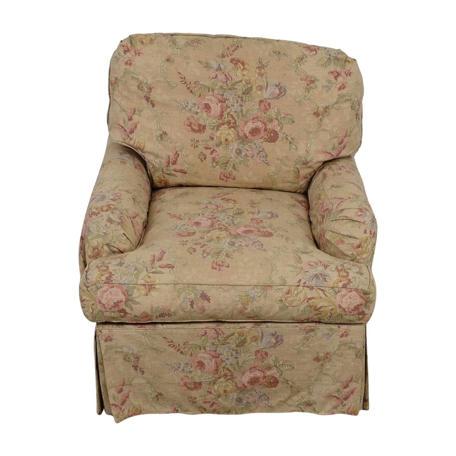 90% OFF - Domain Domain Beige and Pink Floral Accent Chair ...