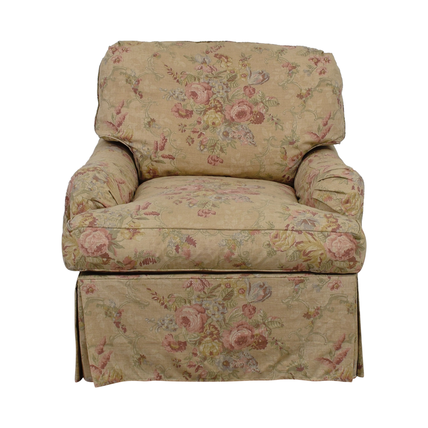 Domain Beige and Pink Floral Accent Chair / Accent Chairs