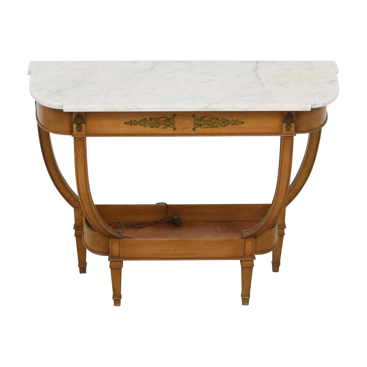 shop  White Marble Wood Base Side Table online