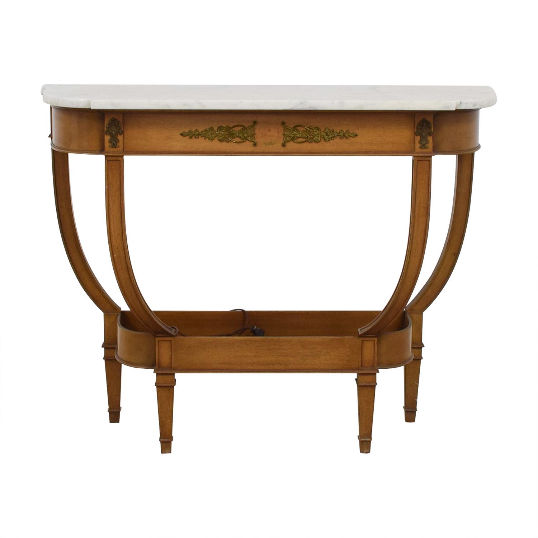White Marble Wood Base Side Table used