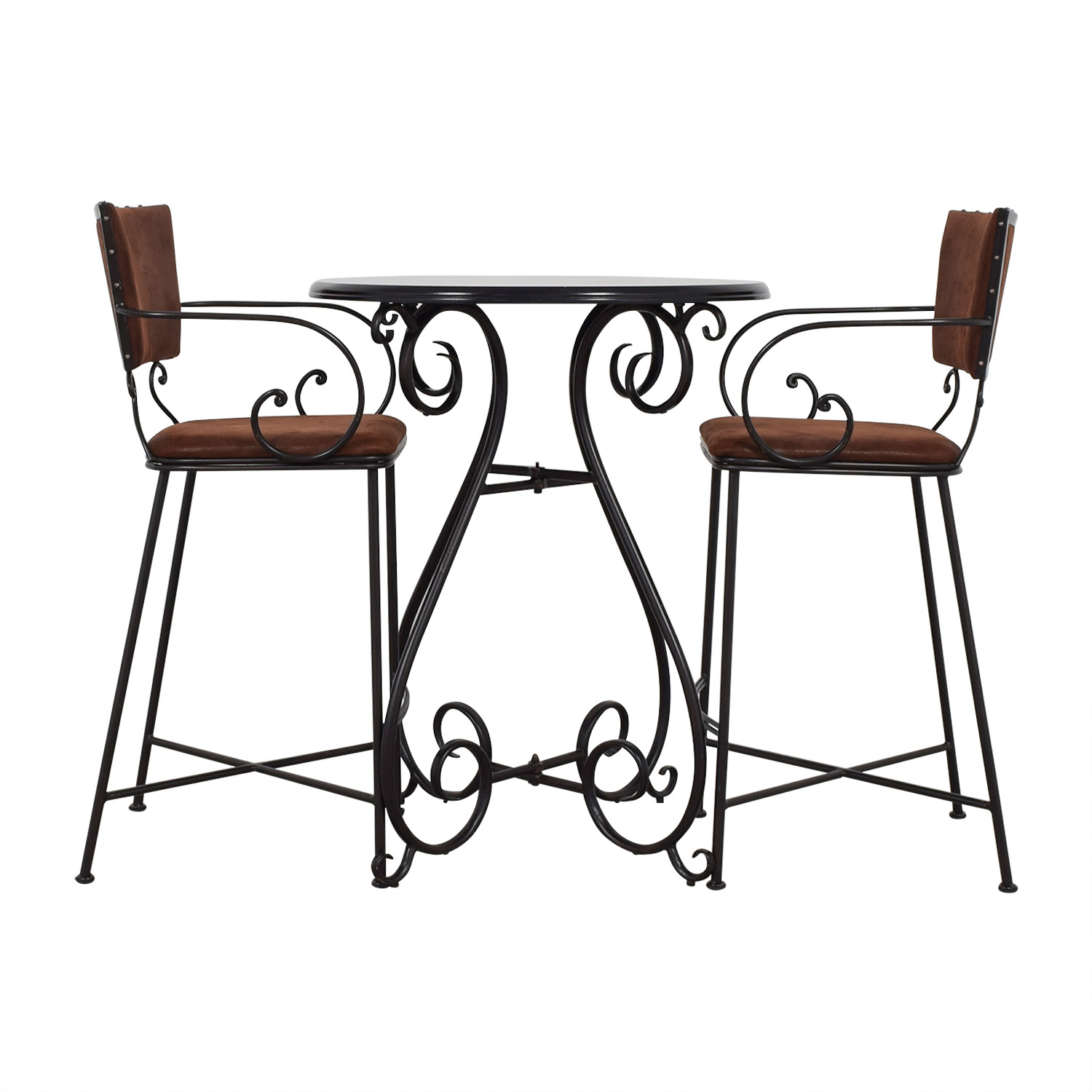 Pier 1 Imports Pier 1 Imports Chesington Tuscan Brown Bar Table with Chairs nj