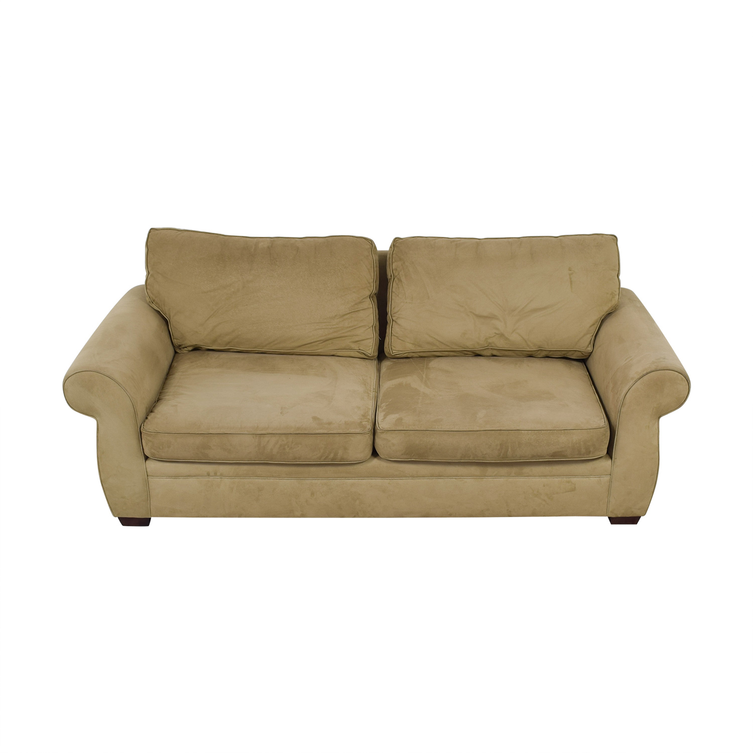 shop Pottery Barn Beige Two-Cushion Roll Arm Sofa Pottery Barn Loveseats
