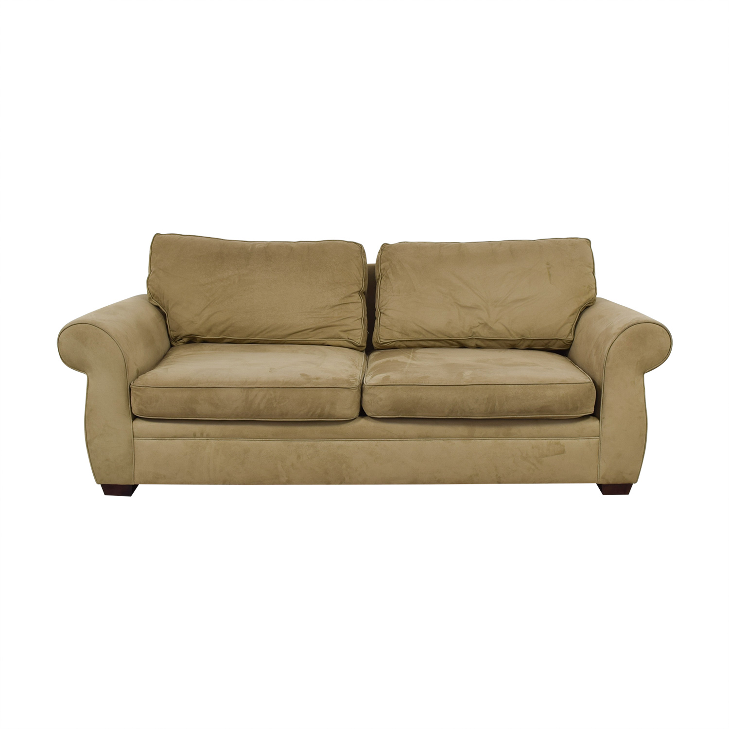 Pottery Barn Pottery Barn Beige Two-Cushion Roll Arm Sofa discount