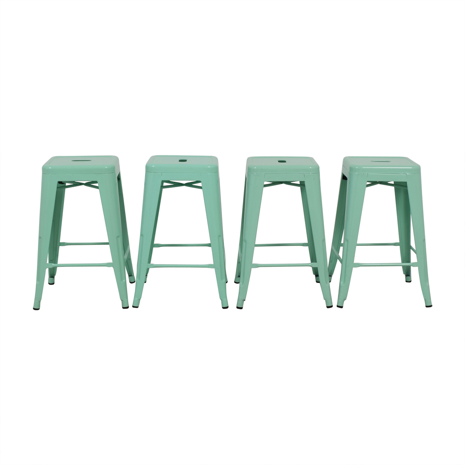 Green Metal Counter Stools used