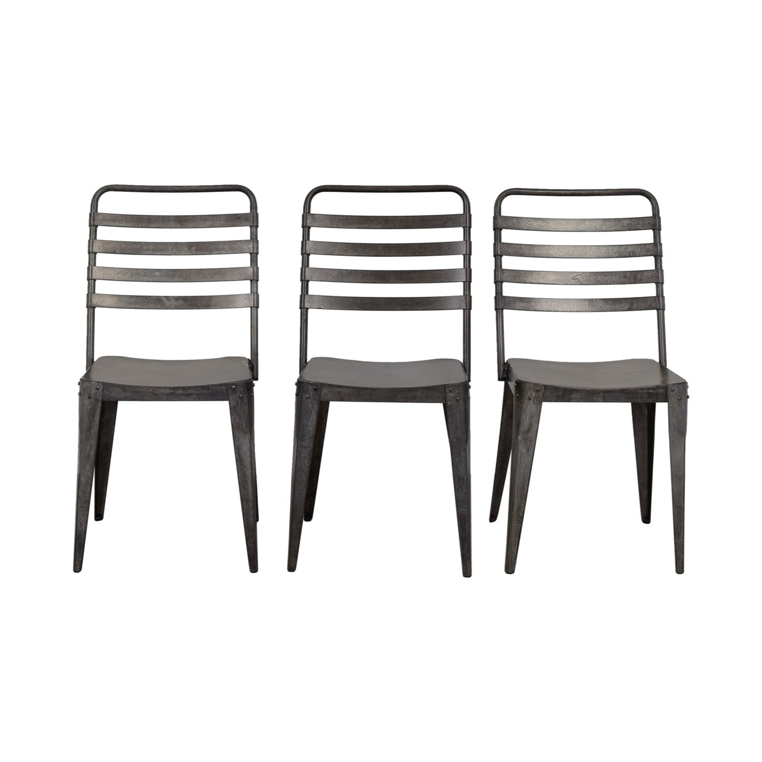 shop CB2 Metropolitan Distressed Metal Chairs CB2