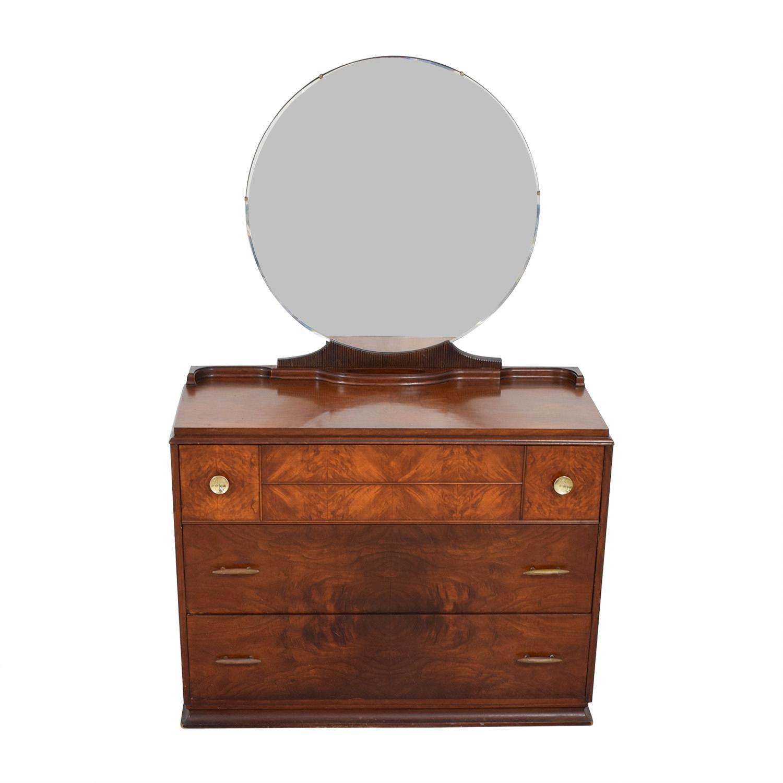 Vintage Art Deco Three-Drawer Dresser and Mirror nj
