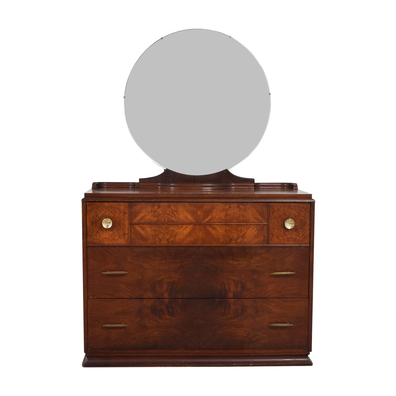 Vintage Art Deco Three-Drawer Dresser and Mirror