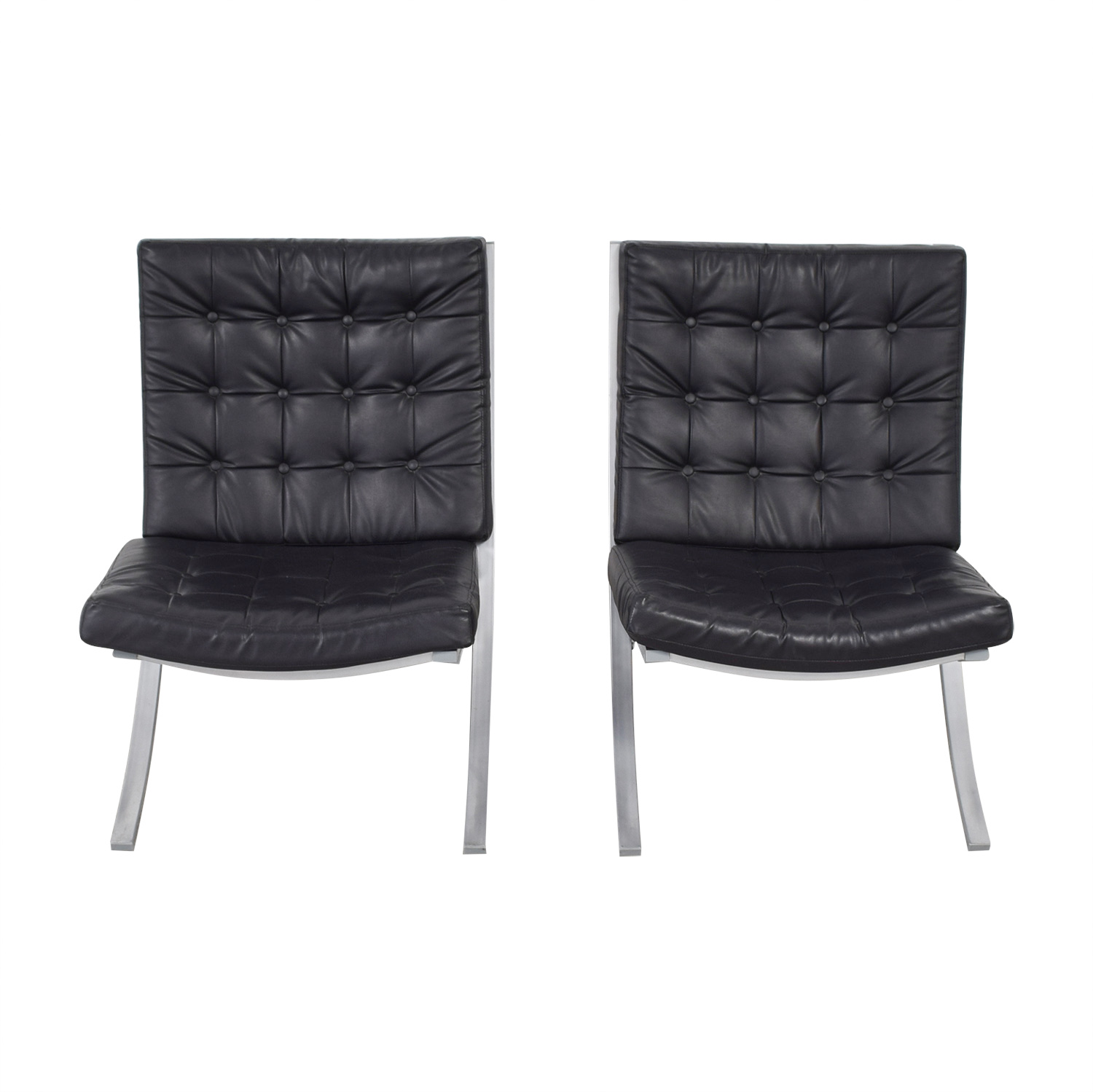 Barcelona Black Tufted Arm Chairs nyc