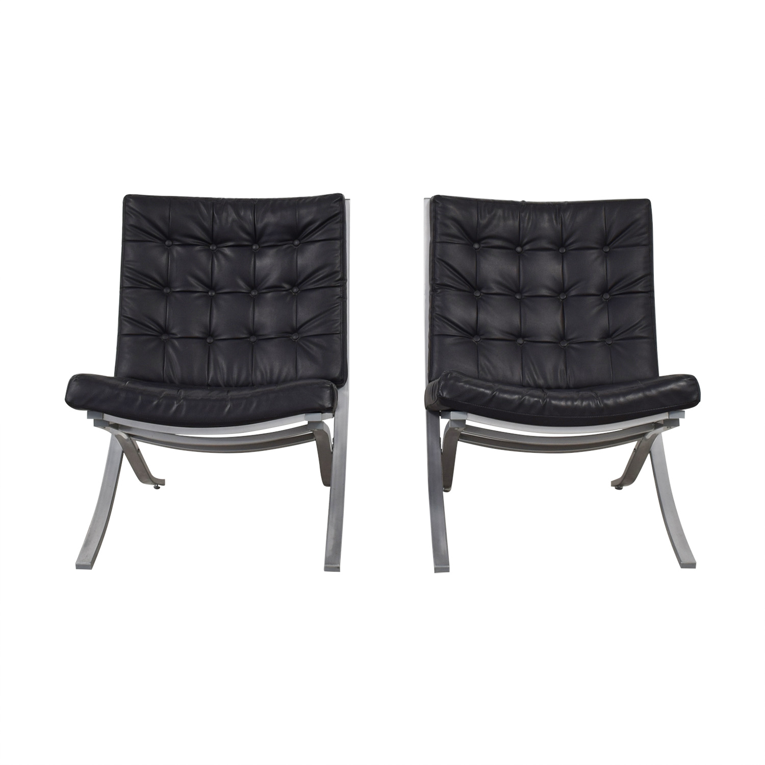 buy Barcelona Black Tufted Arm Chairs  Chairs