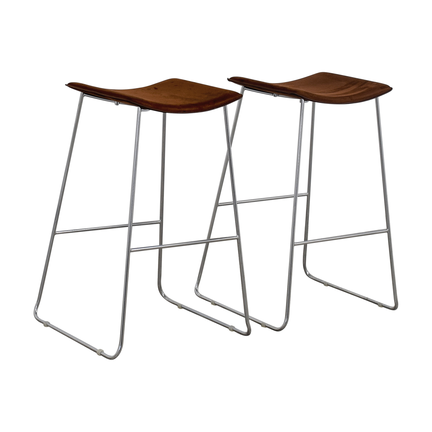30 Off Cb2 Cb2 Brown Suede Bar Stools Chairs