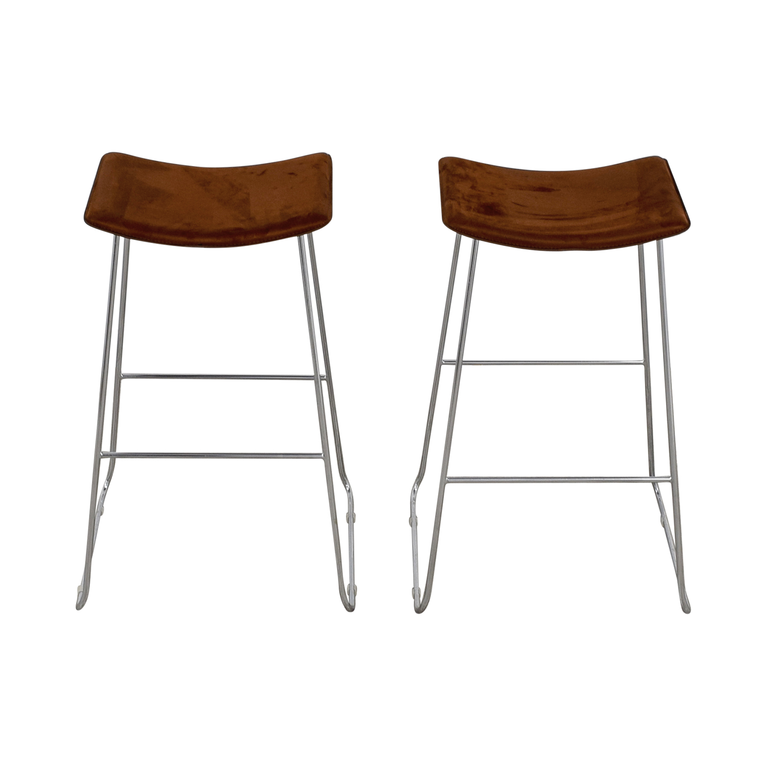 CB2 Brown Suede Bar Stools sale