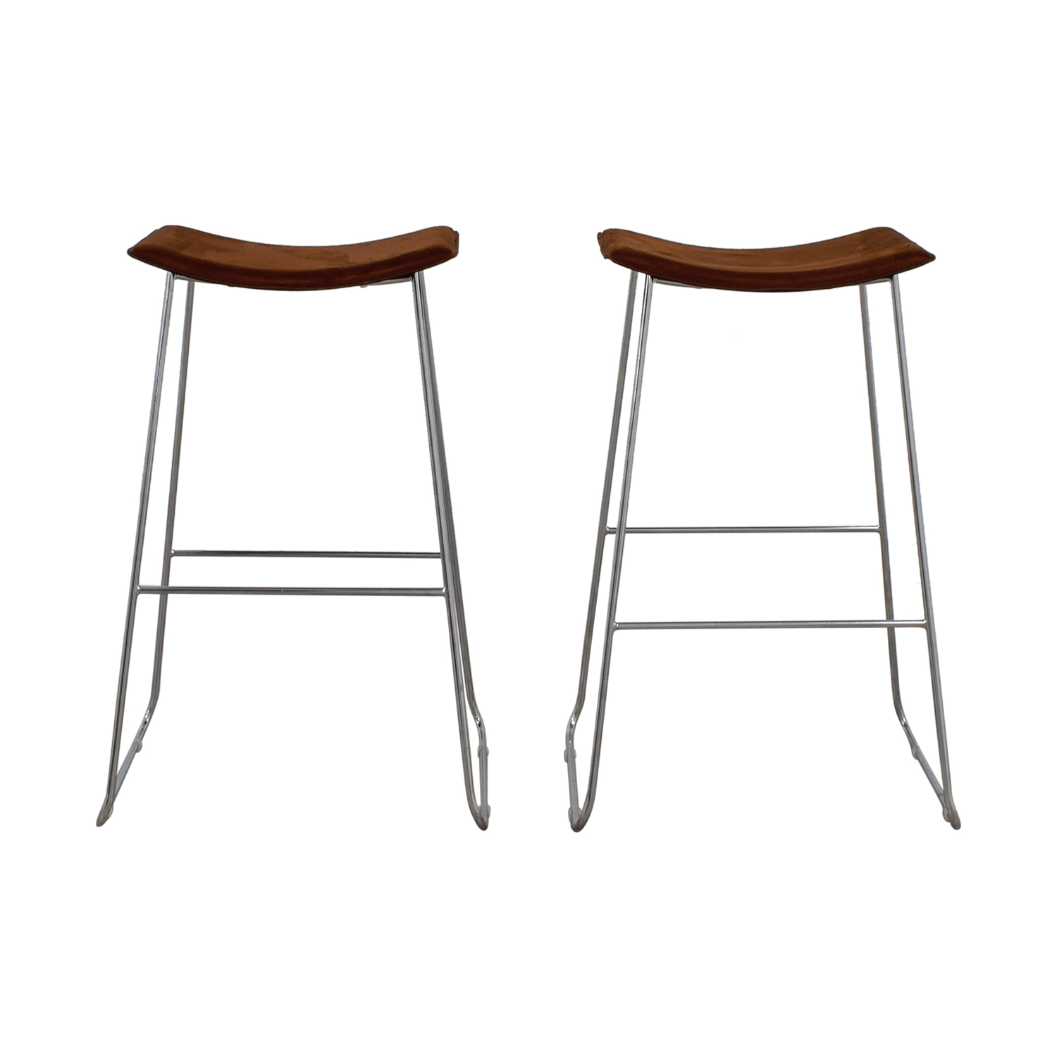 CB2 CB2 Brown Suede Bar Stools Stools