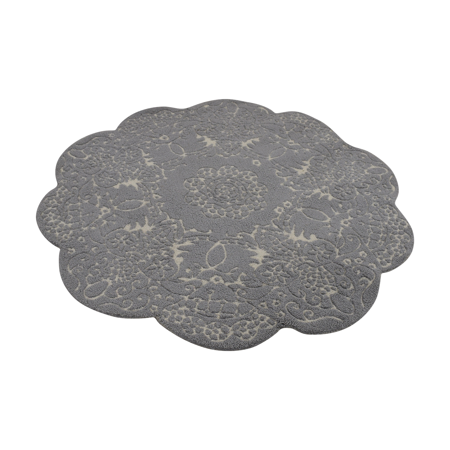 Anthropologie Doily Round Grey Rug Anthropologie
