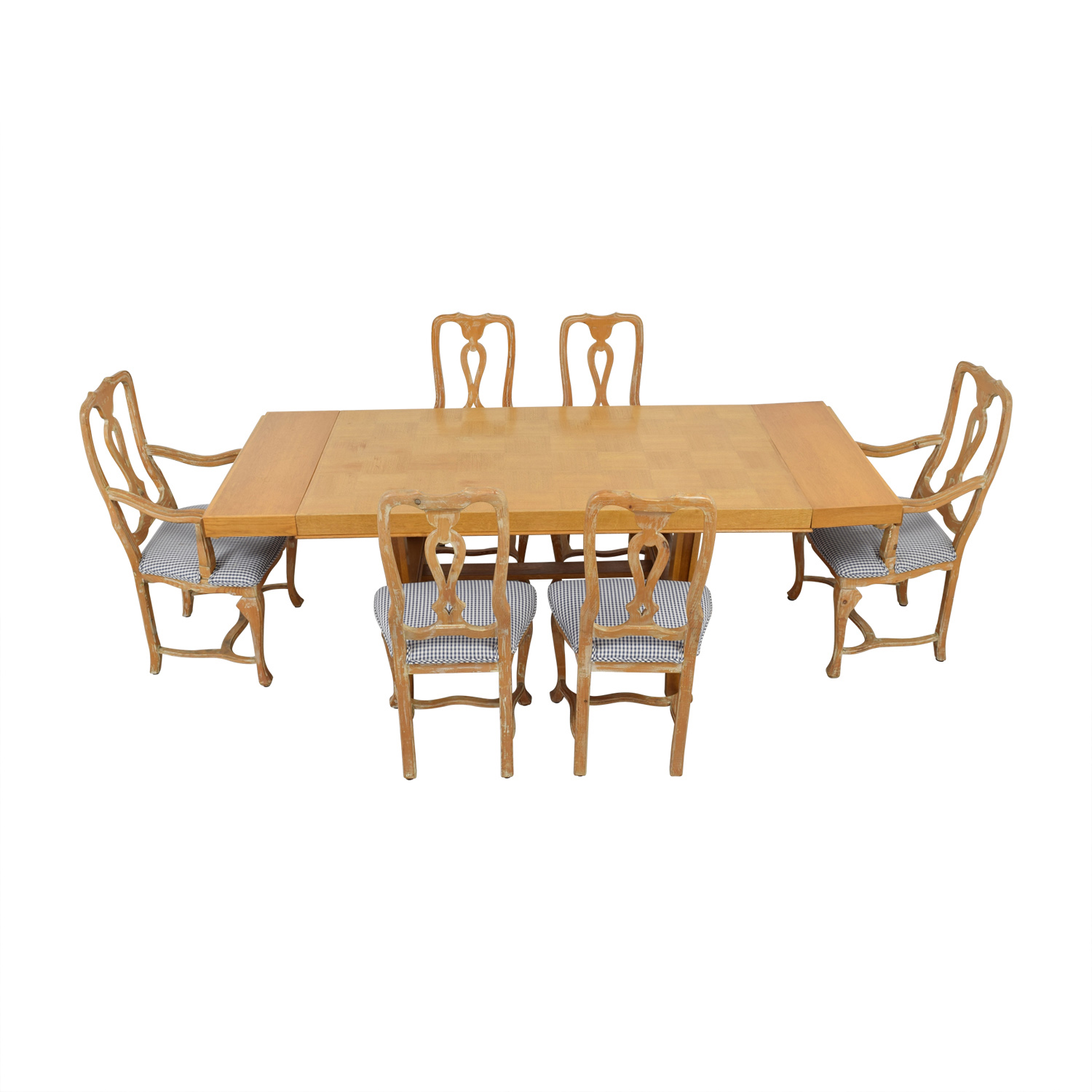 shop Antique French Country Natural Wood Extendable Dining Set
