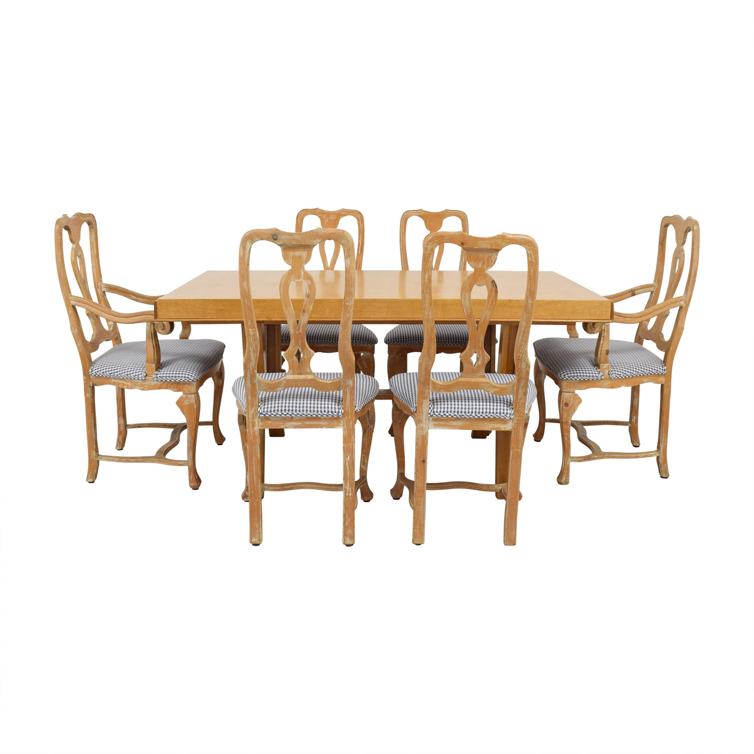 Antique French Country Natural Wood Extendable Dining Set Tables