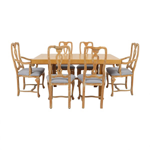 Antique French Country Natural Wood Extendable Dining Set second hand