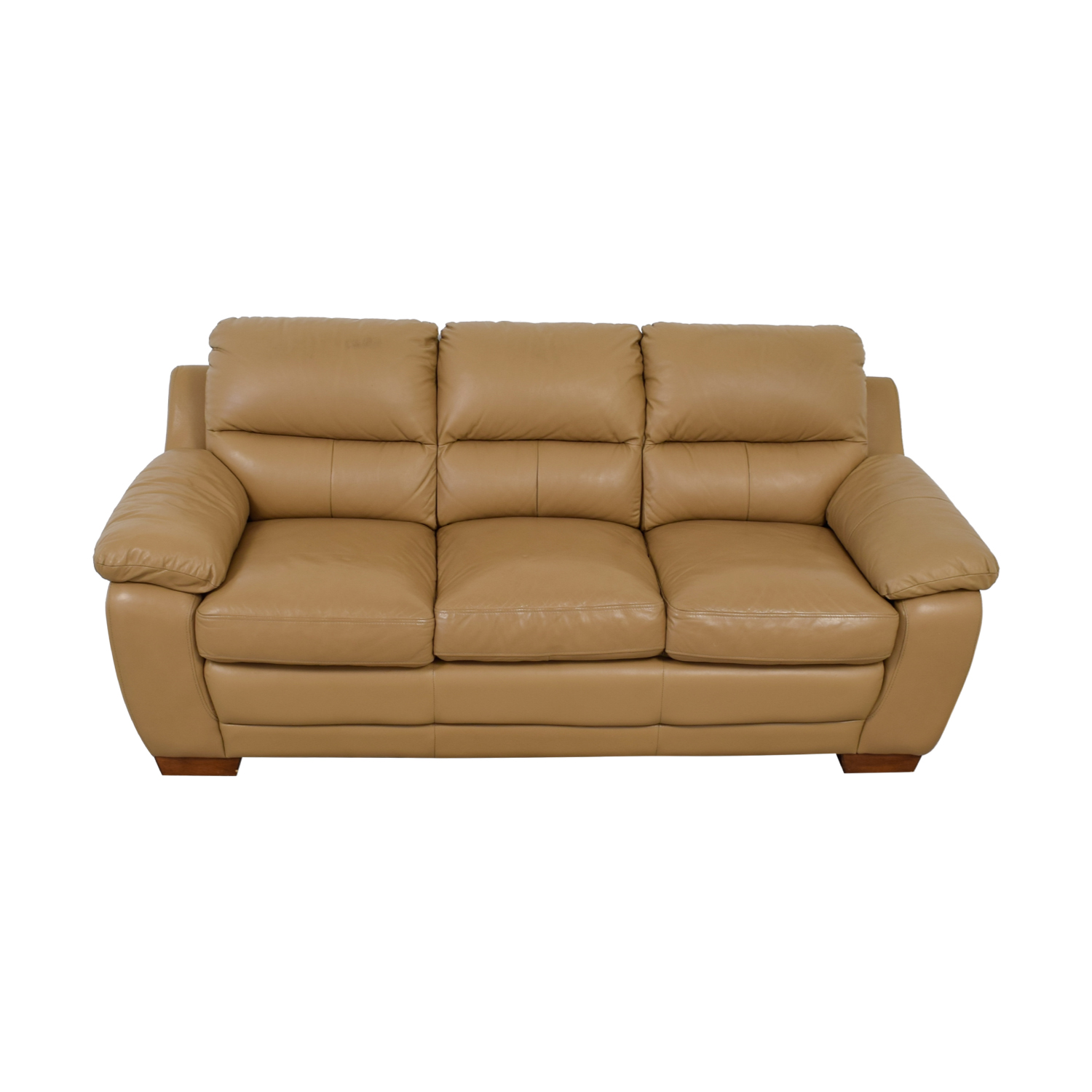 buy Raymour & Flanigan Tan Leather Three-Cushion Sofa Raymour & Flanigan Loveseats