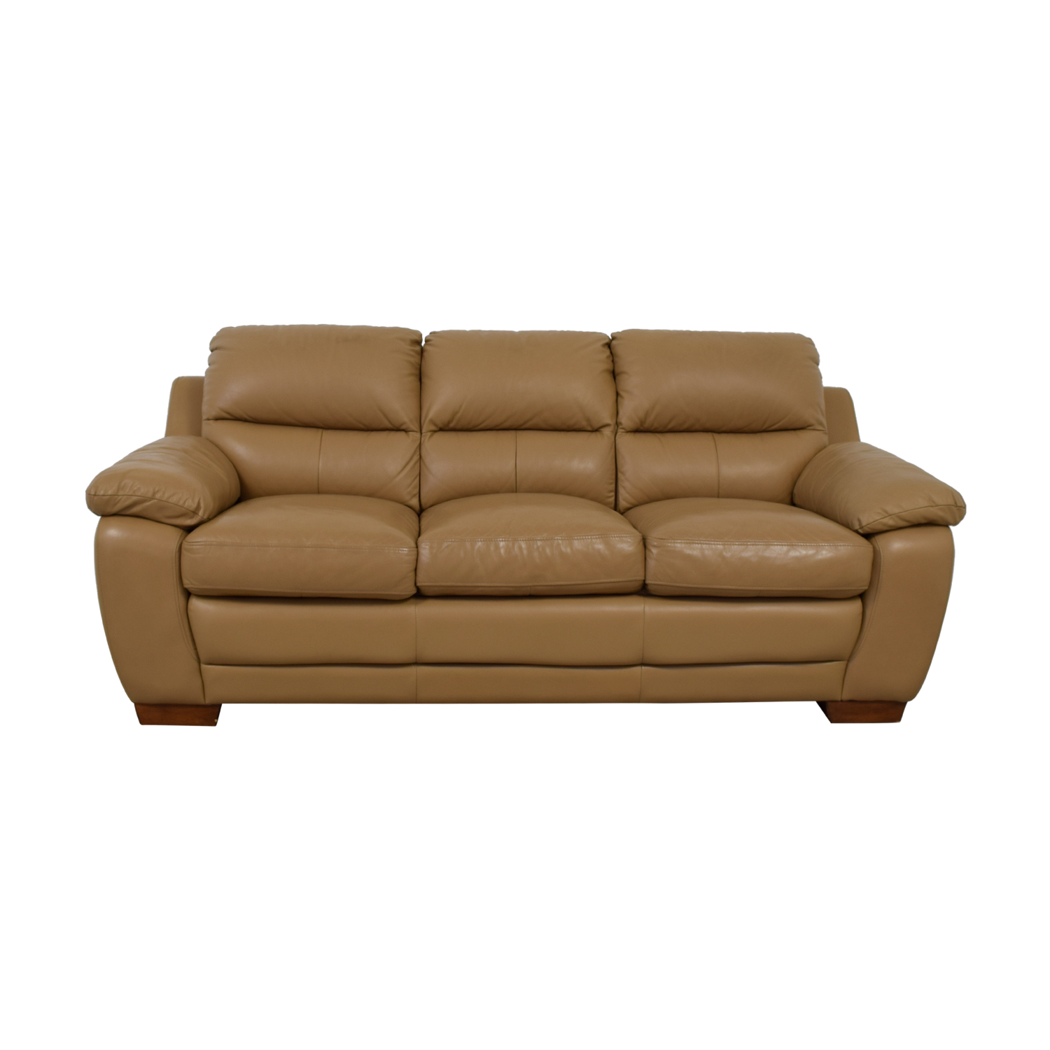 Raymour & Flanigan Raymour & Flanigan Tan Leather Three-Cushion Sofa on sale