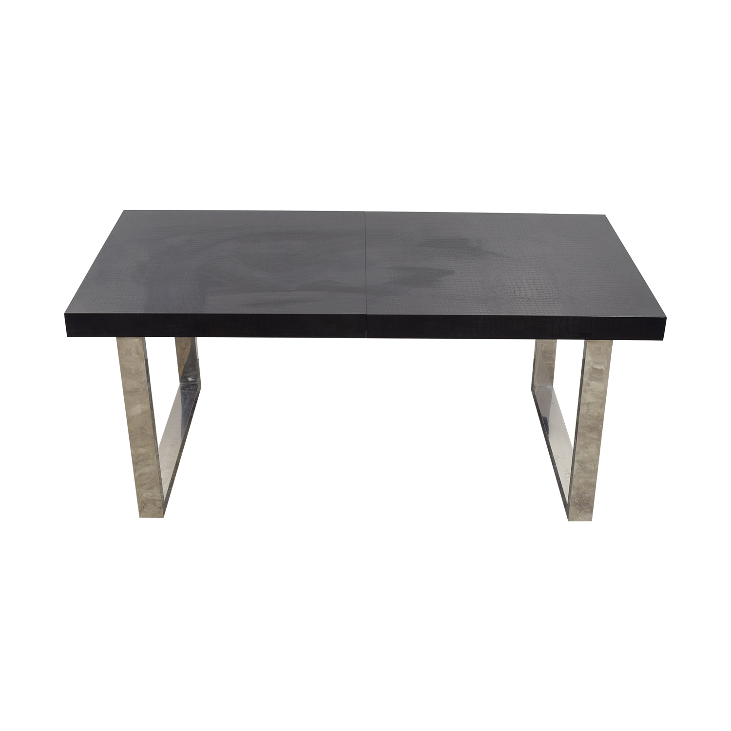 A&X Skyline Black Crocodile Lacquer Extendable Dining Table sale