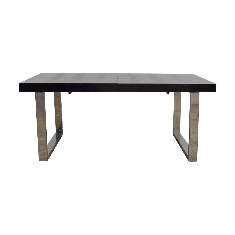 A&X A&X Skyline Black Crocodile Lacquer Extendable Dining Table nj