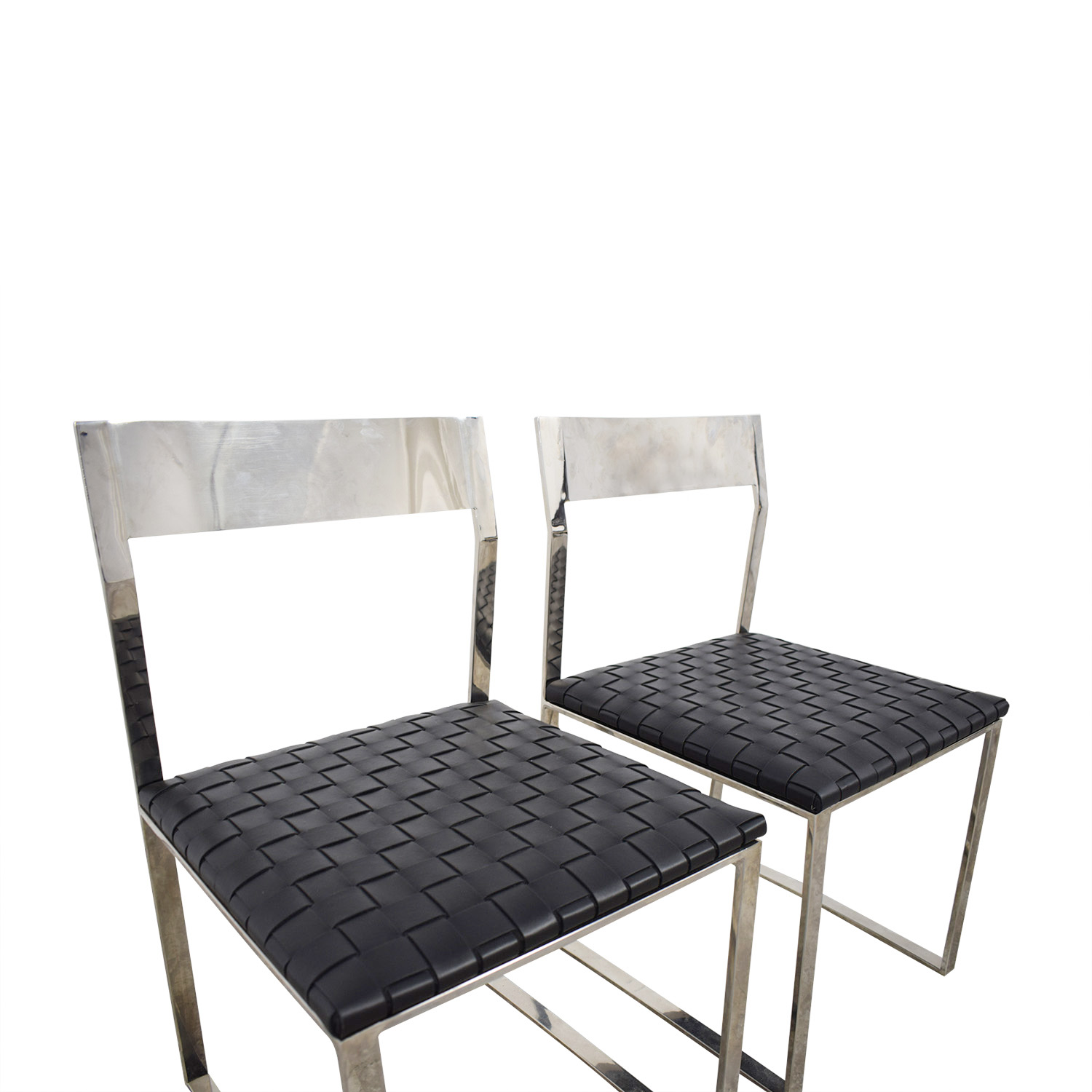 Nuevo Camille Black Leather and Mirrored Steel Dining Chairs sale