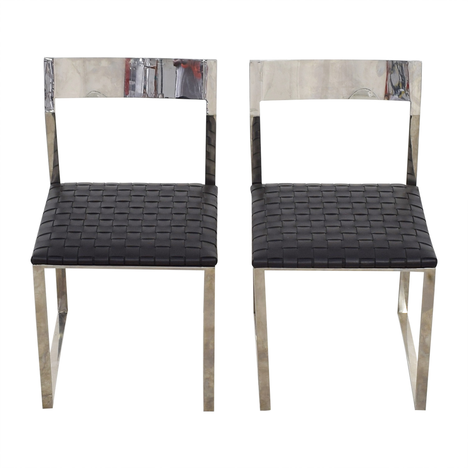 Nuevo Nuevo Camille Black Leather and Mirrored Steel Dining Chairs Chairs