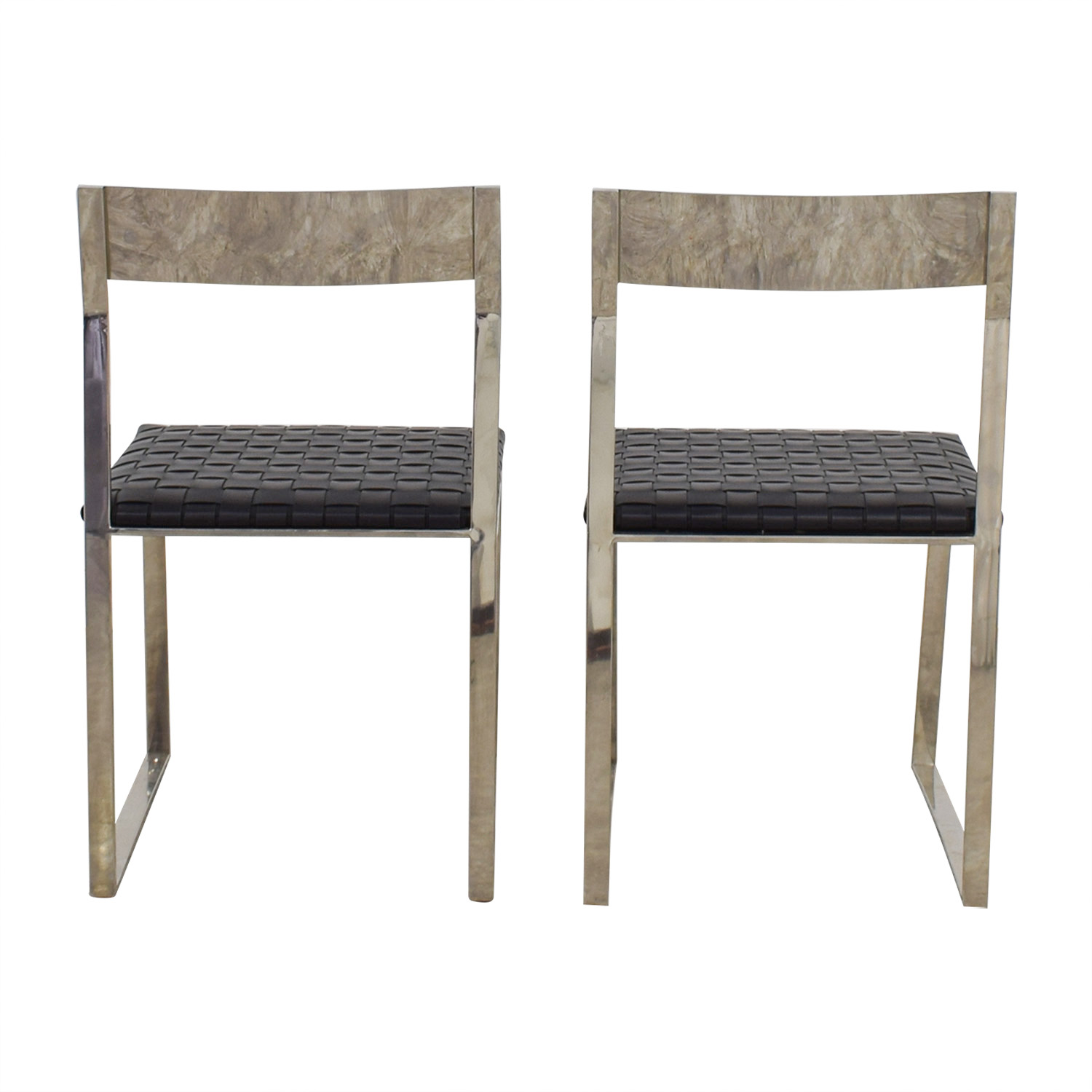 Nuevo Nuevo Camille Black Leather and Mirrored Steel Dining Chairs price